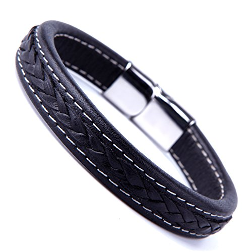 Urban-Jewelry Elegant Black Cuff Genuine Leather Bracelet for Men with Elegant 316L Stainless Steel Clasp