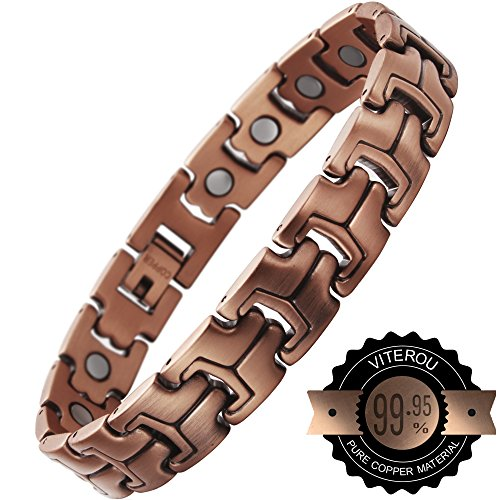VITEROU Mens Magnetic Pure Copper Bracelet with High Powered Magnets Pain Relief for Arthritis Adjustable,3500 Gauss