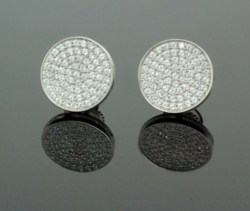 IcedTime .925 Sterling Silver White Circle White Crystal Micro Pave Unisex Mens Stud Earrings