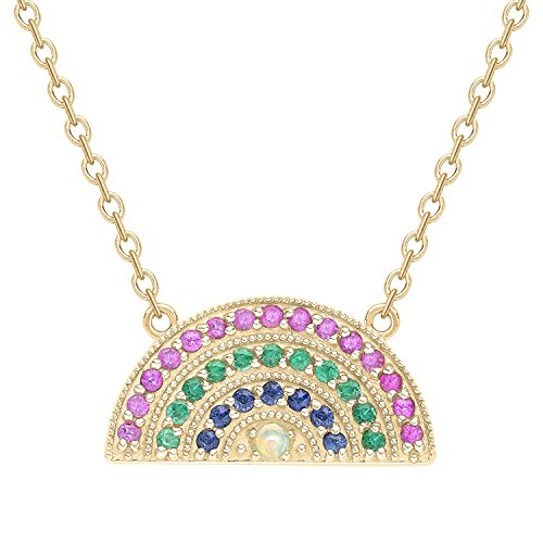 Andrea Fohrman Celestial 18ct Small Rainbow Pendant with Pink and Blue Sapphires, Emerald and an Opal Centre on a 14ct…