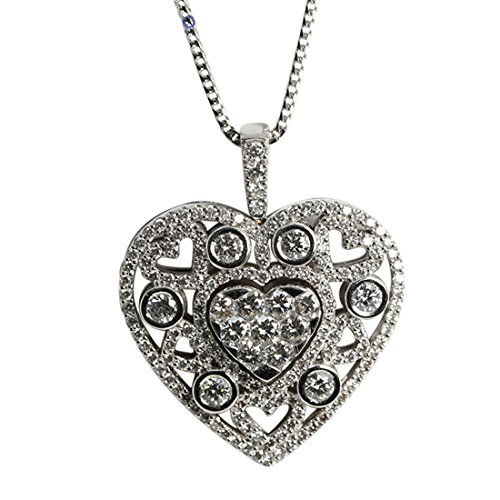 18ct White Gold Invisible Setting Round Cut Diamond Heart Pendant (2.78 Ct, G Color, VS1 Clarity)