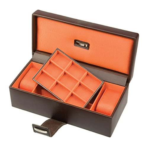 Park Lane Mens Brown & Orange Watch & Cufflink Box by Dulwich Designs