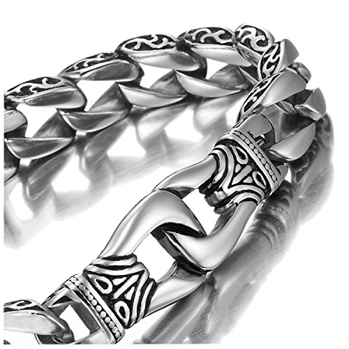 URBAN JEWELRY Amazing Stainless Steel Mens Link Bracelet Silver Black 23 cm (with Branded Gift Box)