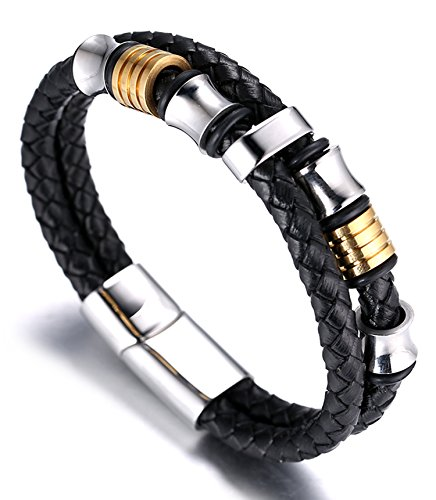 Halukakah ● Honour ● Men's Genuine Leather Bracelet with Titanium Beads Golden & Silver 8.46″(21.5cm) with Free Giftbox