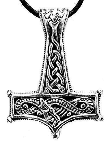 Kiss of Leather Thor's Hammer Pendant 925 Sterling Silver with Cotton Ribbon