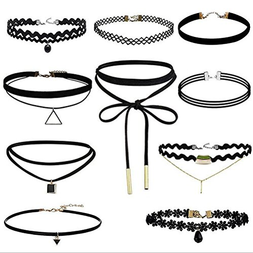 10 Pcs Choker Necklace for Women Girls, Black Classic Velvet Stretch Gothic Tattoo Lace
