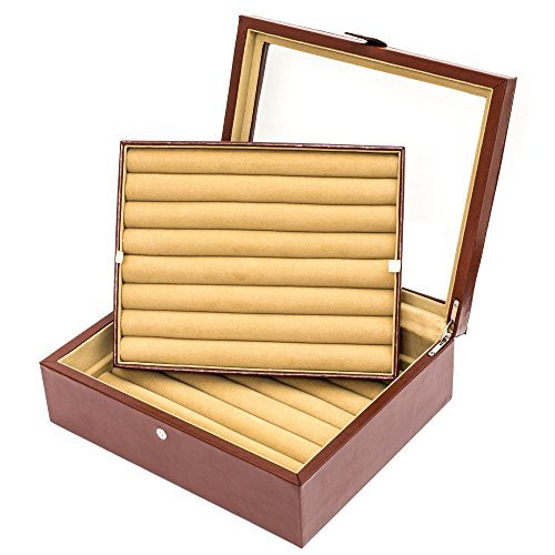 Large Leather Cufflinks Case Brown 72 pairs