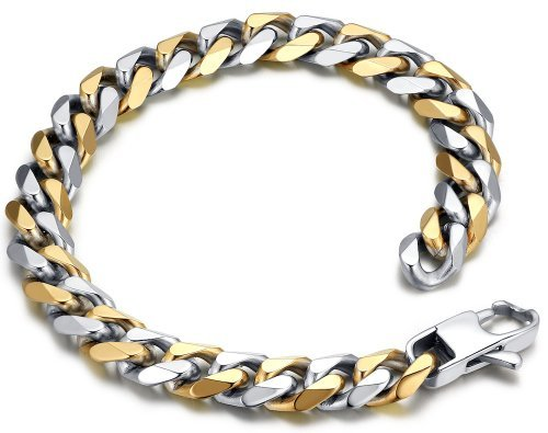 Stainless Steel Men's Polished Curb Chain Bracelet 9″
