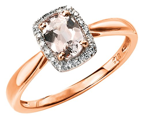Elements Gold 9ct Rose Gold Diamond and Morganite Ring