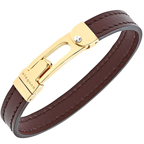 Citerna Satin Gold Plated Silver U Clasp, Men's Brown Leather Bangle of Diameter 70 mm