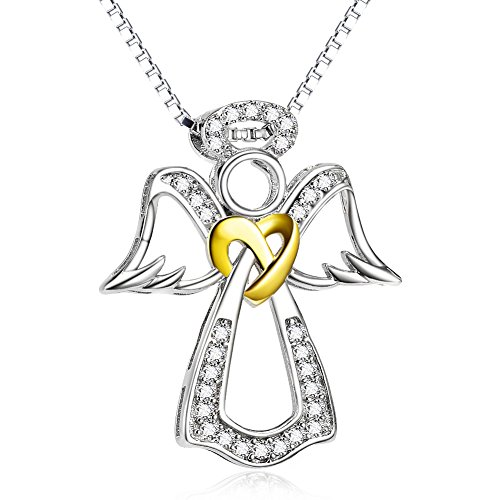 Silver Mountain 925 sterling silver guardian angel heart knot with zirconia necklace, 45.7 cm, box chain