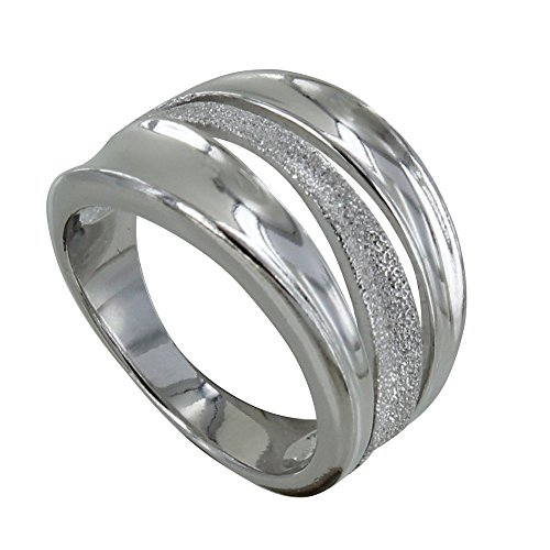 Les Poulettes Jewels – Rhodium Silver Ring Smooth and Diamond Wave