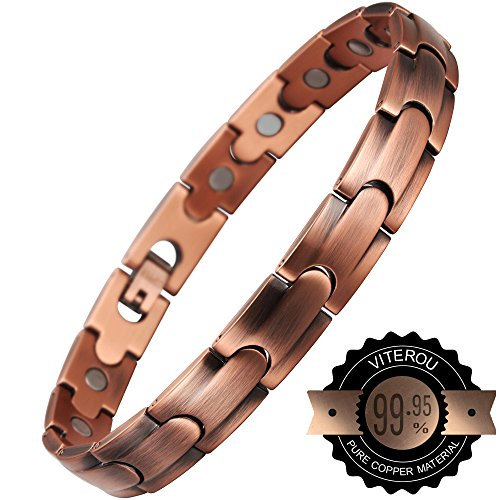 VITEROU Womens Magnetic 99.95% Pure Copper Bracelet with Magnets Pain Relief for Arthritis,3500 Gauss