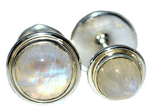 Sterling 925 Silver Rainbow Moonstone Cufflinks. Natural Gemstones. Birthstone, NEW Boxed Gents Mens Gifts