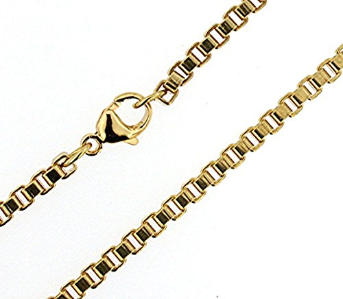 tendenze-ITALY Venetian Box Chain Bracelet, Gold Doublé, 2.6mm/0.1″ Length Choosable, Men Women Anklet Gift Jewelry from Factory