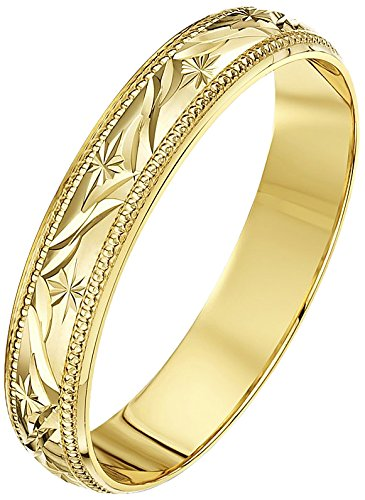 Theia Unisex Super Heavy Weight D Shape Leave Design 9 ct Gold Wedding Ring