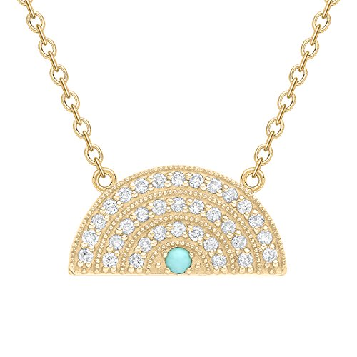 Andrea Fohrman Celestial 18ct Small Rainbow Pendant with White Diamonds and a Turquoise Centre on a 14ct Yellow Gold…